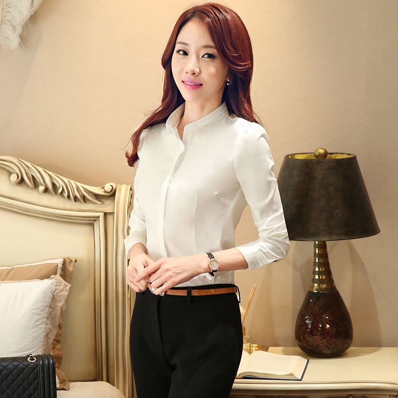 Cloud about 2016 autumn paragraph small collar white collar professional dress shirt long sleeve shirt hotel manager interview suit