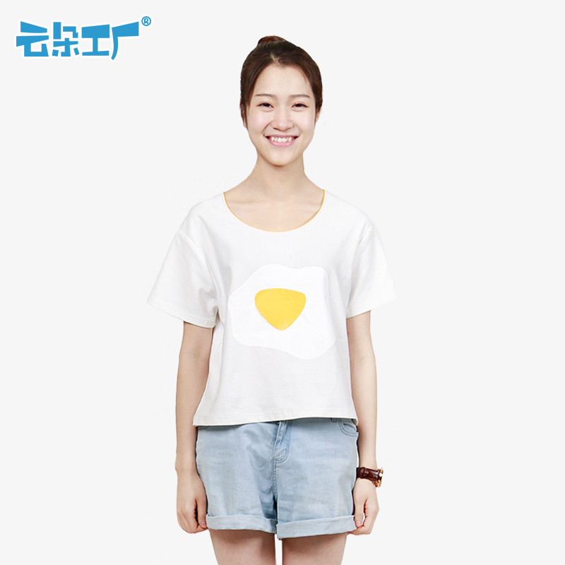 Clouds factory new creative remoulade t-shirt pullover short paragraph wild raglan sleeves printing was thin loose short sleeve