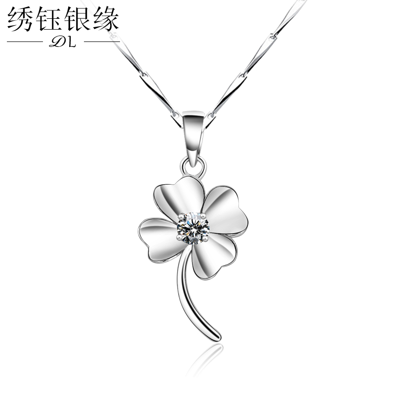 Clover necklace female 925 silver pendant clavicle chain with jewelry korean version of sweet student day lettering birthday gift