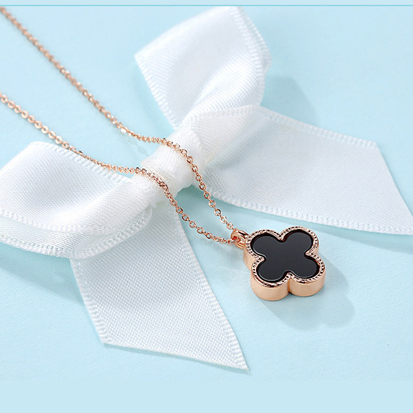 Clover necklace female 925 sterling silver korea pure simple short paragraph clavicle chain rose gold pendant jewelry jewelry wild