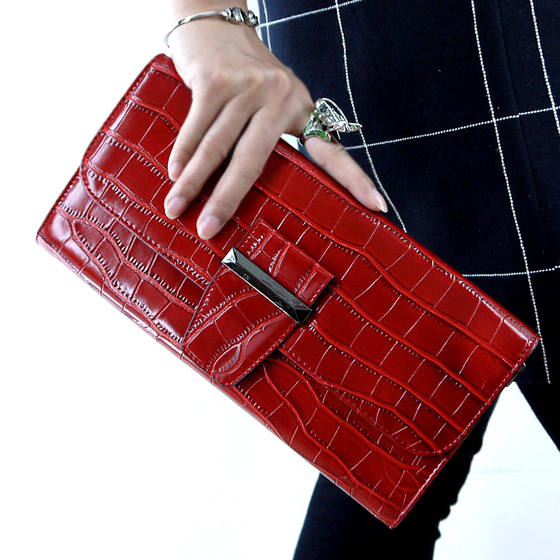Clutch female crocodile pattern leather handbags handbags 2016 new leather clutch bag card bit shoulder bag messenger packet