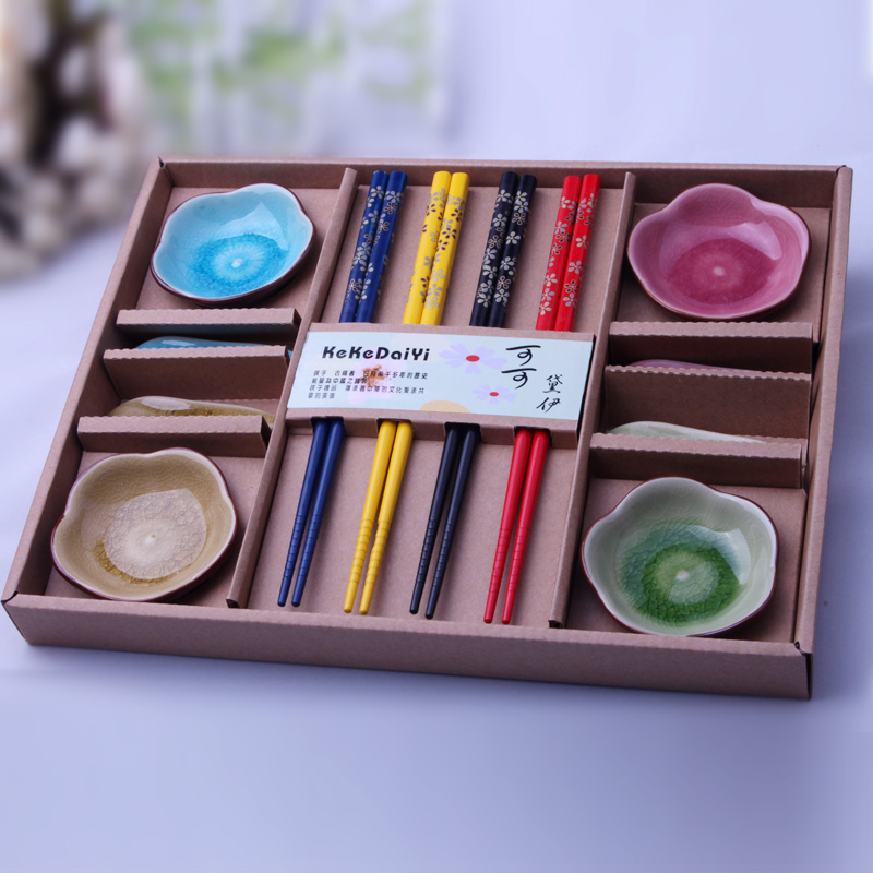 Cocoa daiyi ceramic dishes suit housewarming gifts wedding favor creative binglie chopsticks dish plum grain