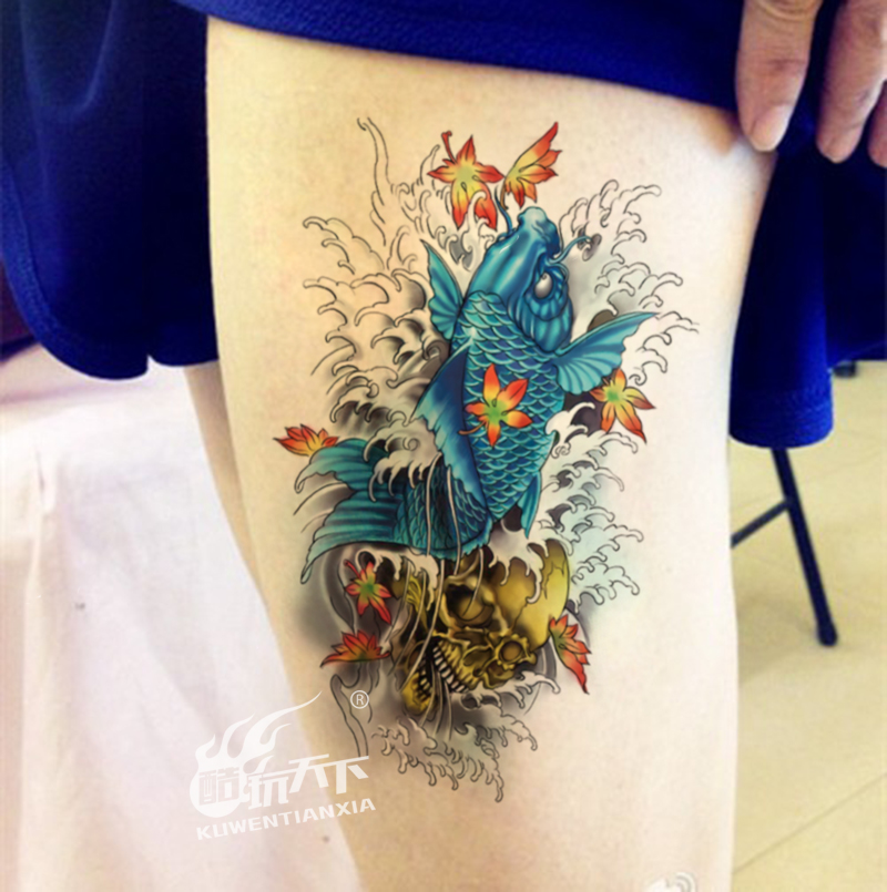 Coldplay world carp original green lasting personality skull tattoo arm tattoo flower tattoo stickers waterproof men