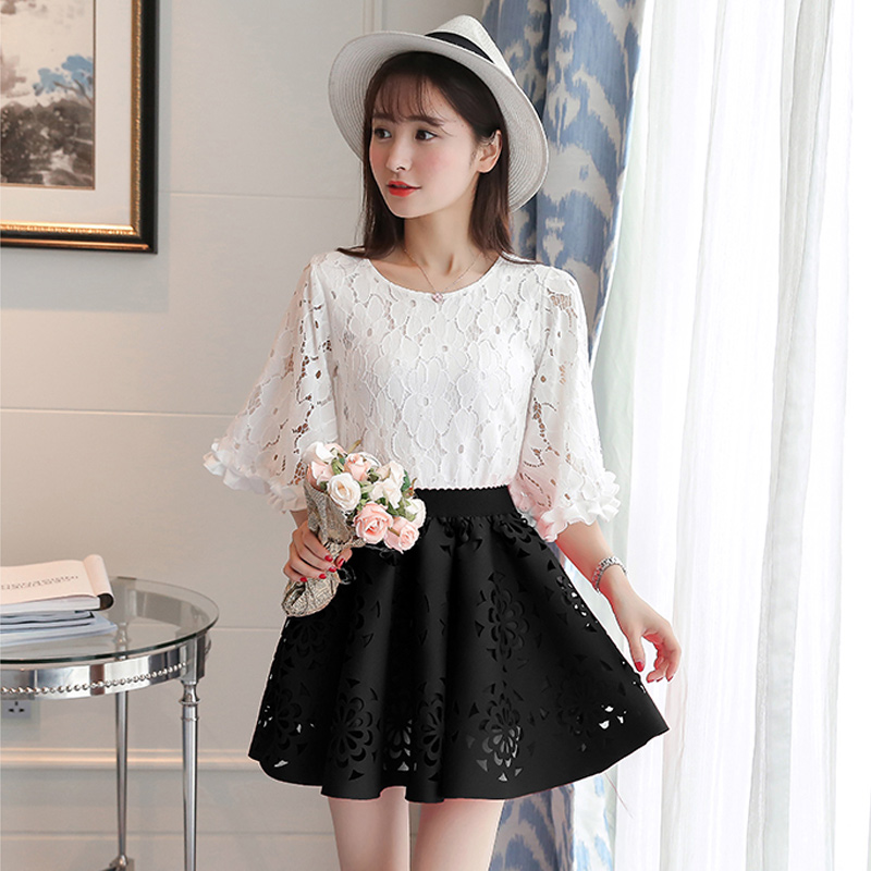 College wind 2016 summer fashion sweet girl student was thin two sets of lace tutu dress suit