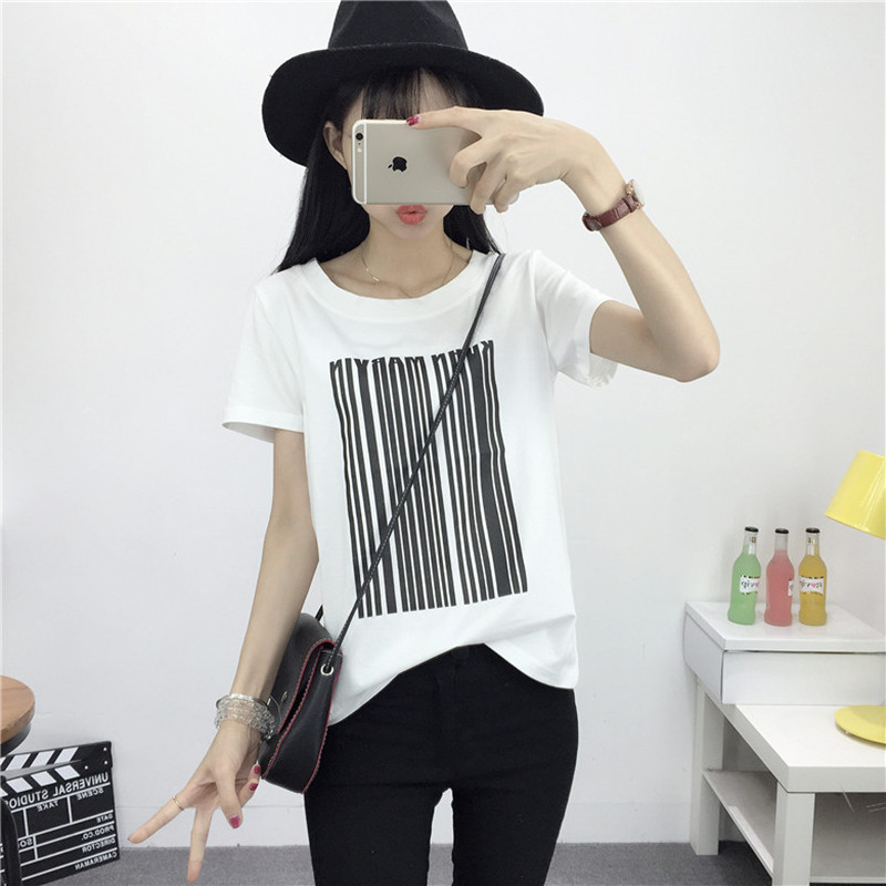 College wind simple striped short sleeve t-shirt female loose big yards summer compassionate student half sleeve shirt tide female korean fan