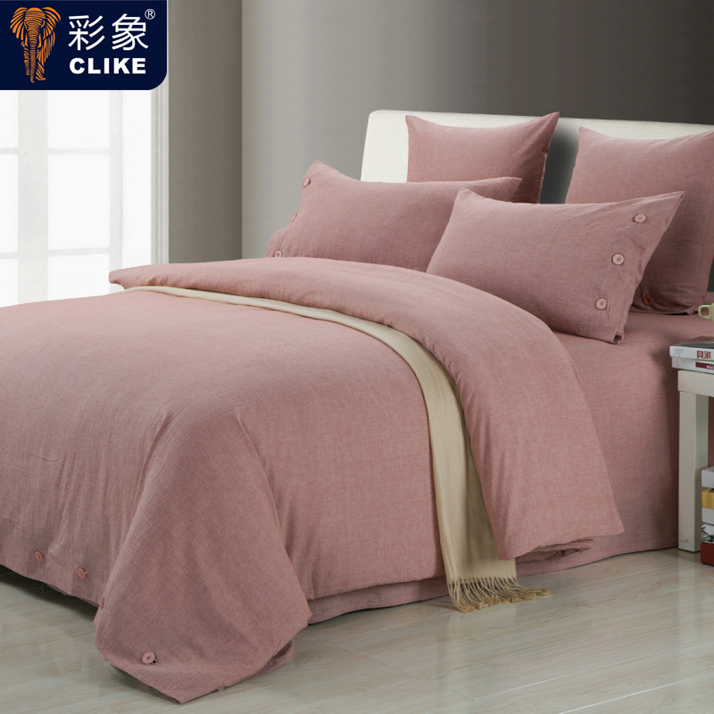 Color like textile upscale japanese style solid color washed cotton denim bedding linen bed enterprises 4 pieces of sets of simple