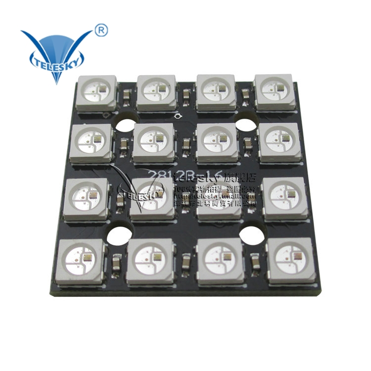 Color WS2812B-4 * 4 rgb full color led drive 16 lights led module development board development board
