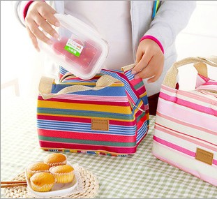 Colored stripes fashion waterproof portable lunch bag insulation cold ice pack cooler bag fresh bag wo