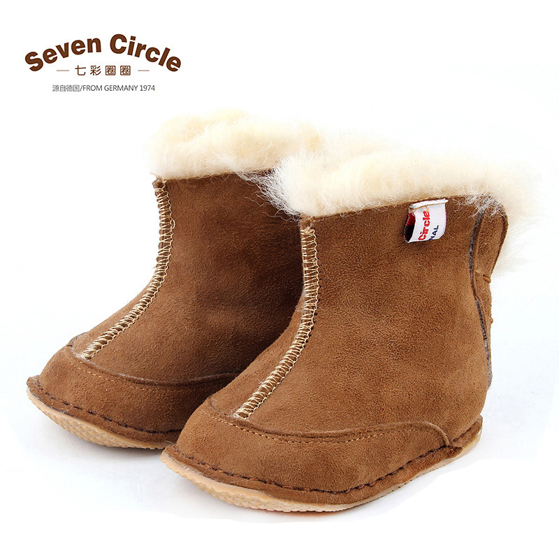 Colorful circle of leather wool one winter new baby shoes toddler shoes for children baby shoes soft bottom slip