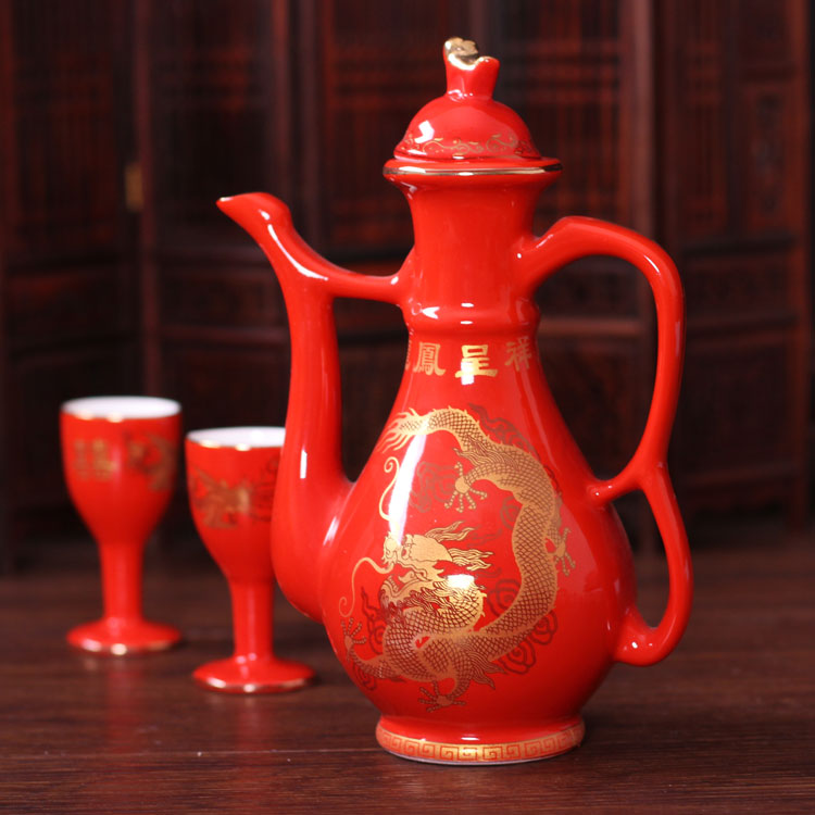 Colorful wedding wedding supplies traditional chinese style wedding wedding creative wedding ceramic jug suit