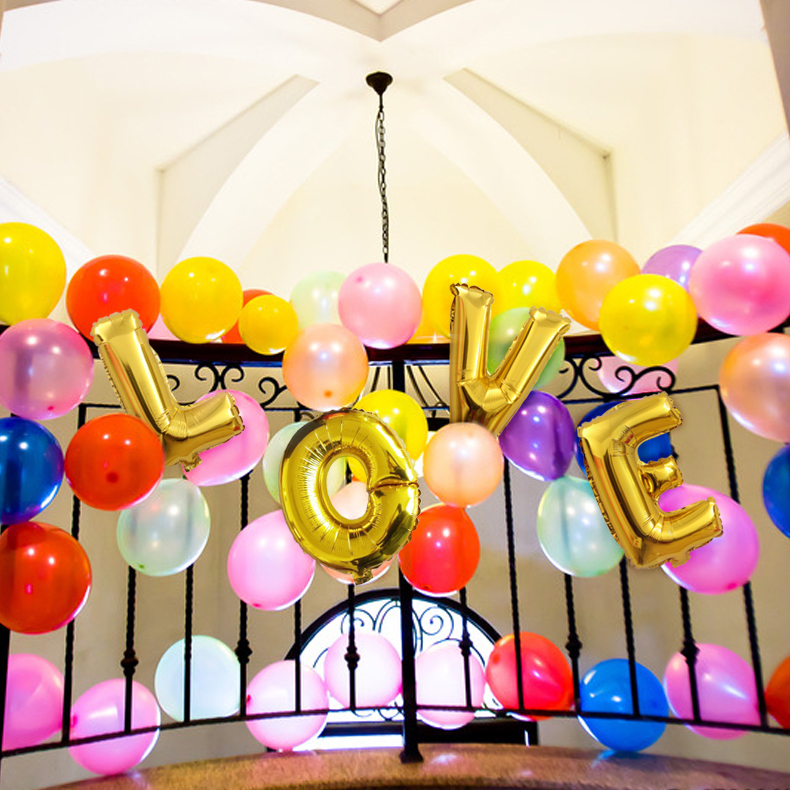 Colorful wedding wedding wedding supplies gold letters aluminum balloons foil balloons birthday wedding decorated and furnished