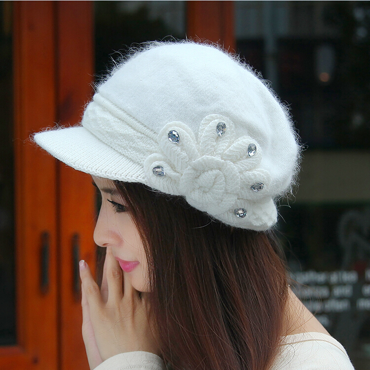 Commodities disabilities long ms. fall and winter hat autumn and winter days warm knit wool cap influx of korean version of rabbit fur hat brim hat