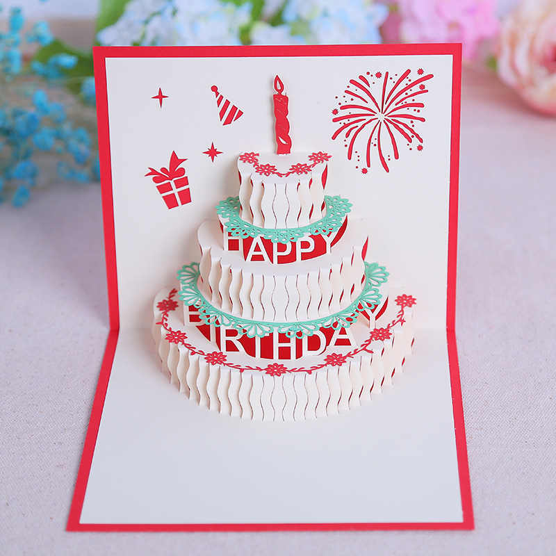 Commodities ni 3d dimensional creative handmade greeting cards business staff birthday greeting card paper carving personalized custom cards