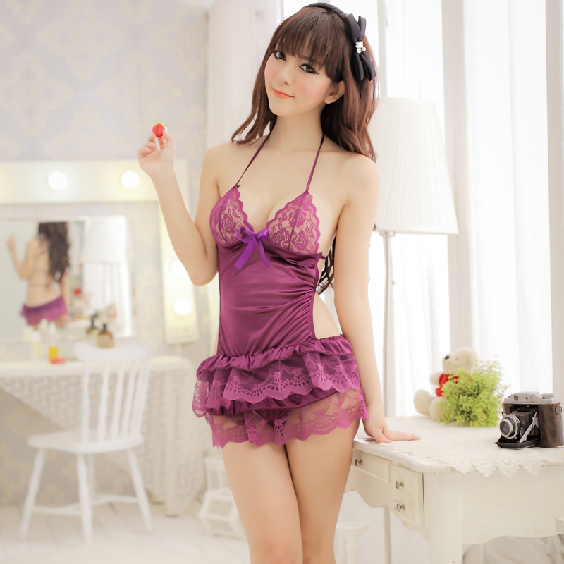 Commodities yin mesh weave suspenders princess pajamas sexy lingerie ladies transparent lace skirt
