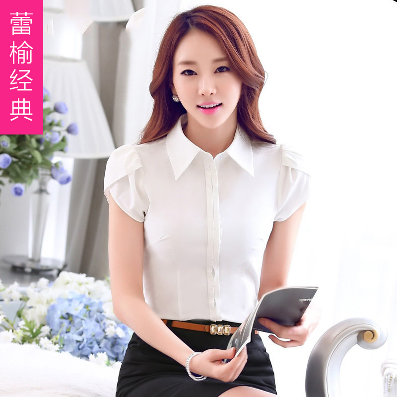 Commuter career wear skirt suits summer new elegant ladies petal sleeve shirt temperament ol repair body shirts