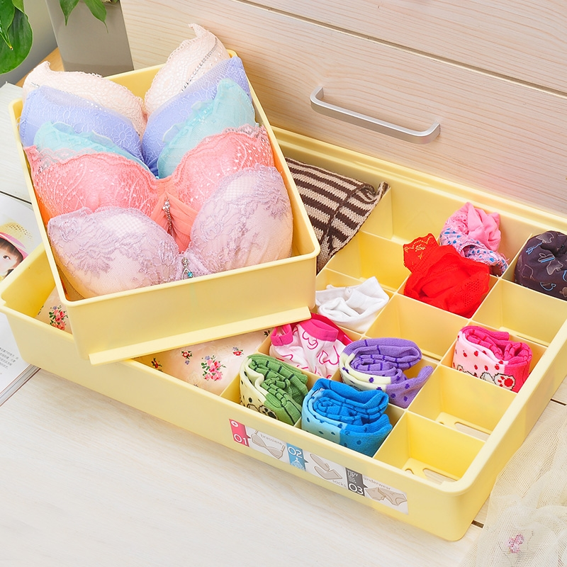 Compartments wardrobe cabinet drawer plastic underwear box storage box creative finishing bra underwear socks underwear storage box