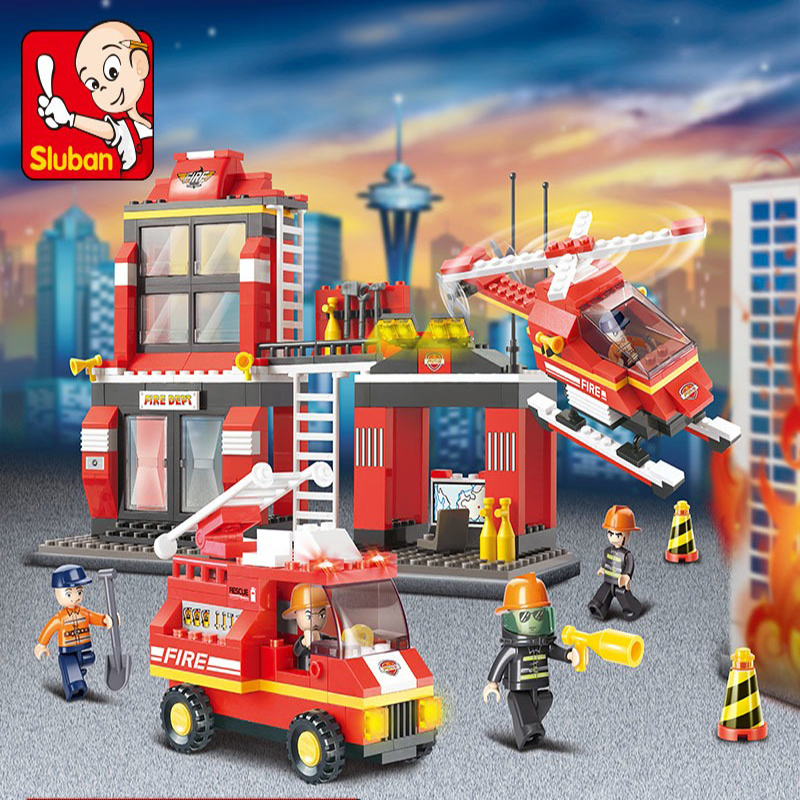 Compatible with lego city fire fire fight inserted plastic building blocks assembled model toy educational toys 6-8-10-year-old
