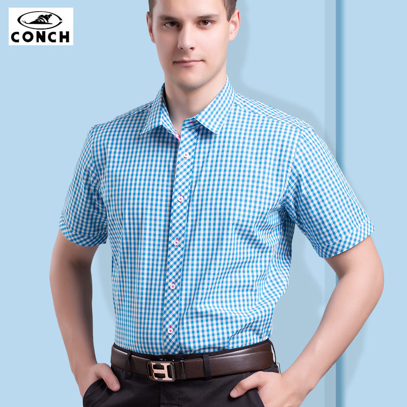 Conch blue plaid cotton shirt men's short sleeve summer youth fashion casual cotton men's short sleeve shirt