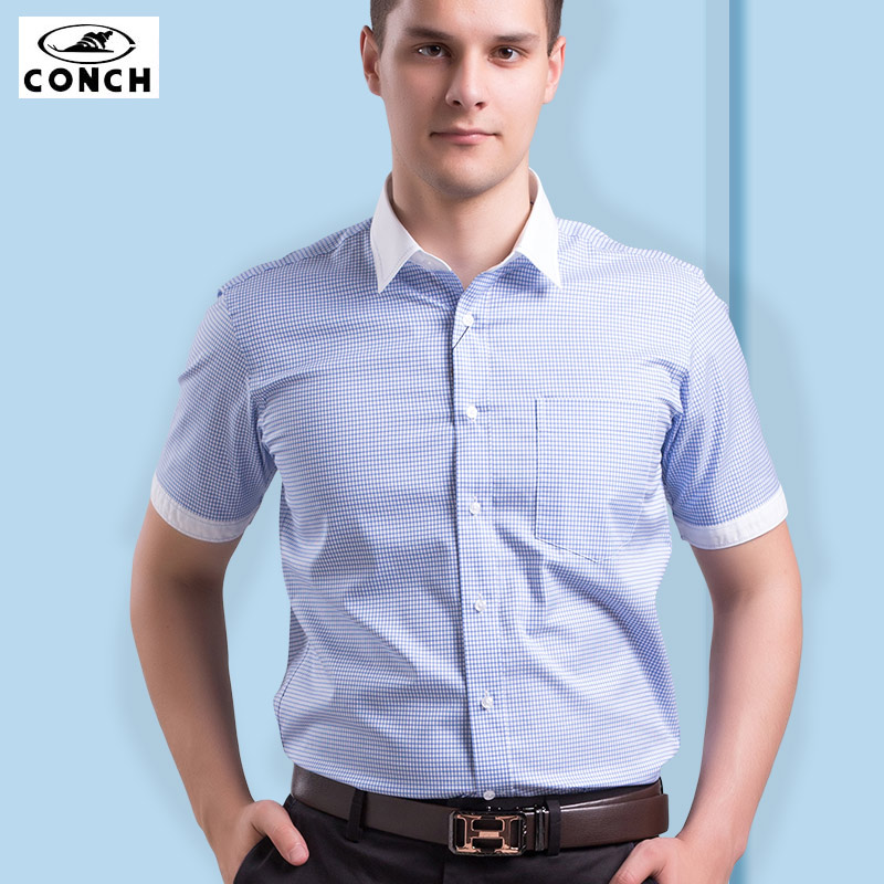 Conch shirt iron summer men's short sleeve cotton blue plaid fight sleeve shirt collar middle-aged men's business casual