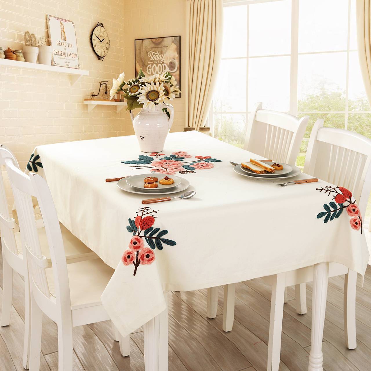 Get Quotations Contadino Embroidery Lu Embroidered Linen Tablecloth Round Coffee Table Cloth Square Dining