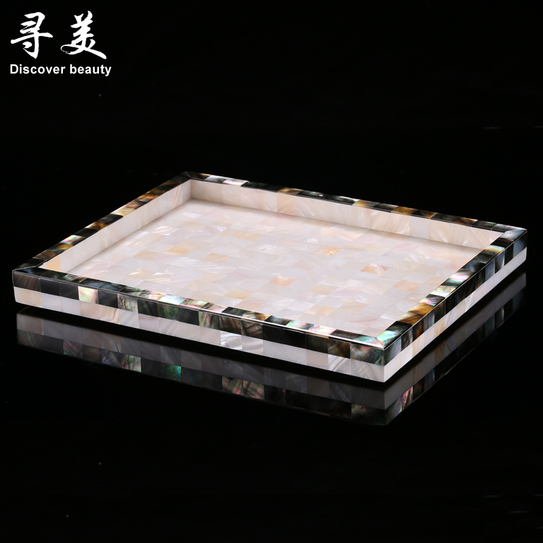 Continental black white shell with free shipping rectangular tray fruit tray storage tray bathroom waterproof medium