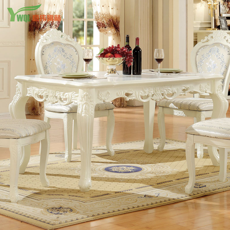 Get Quotations · Continental Carved Wood White French Garden Style  Rectangular Dinner Table Like Ivory White Dinette Combination