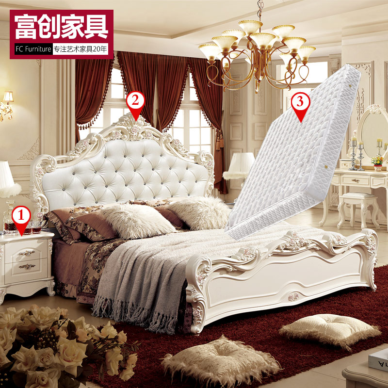 Continental double bedroom furniture bed + bedside cabinet + mattress bed french furniture master bedroom suite