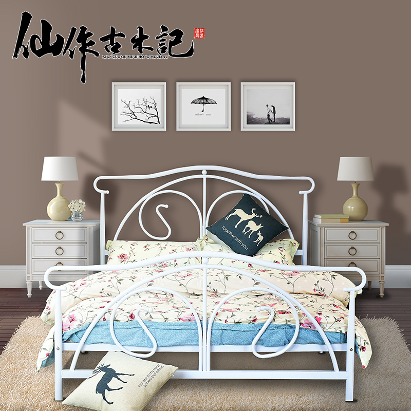 Continental iron bed double beds minimalist steel wooden bed metal bed metal frame bed dormitory bed 1.5 m