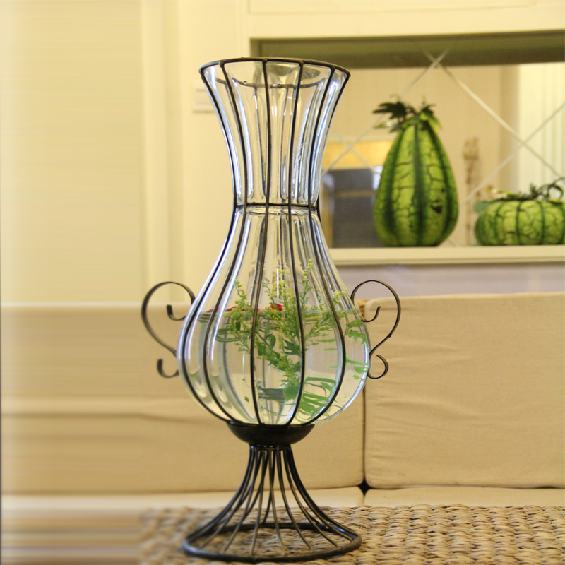 Continental iron hengfa transparent colored glass vase floor vase floral ornaments lucky bamboo vase