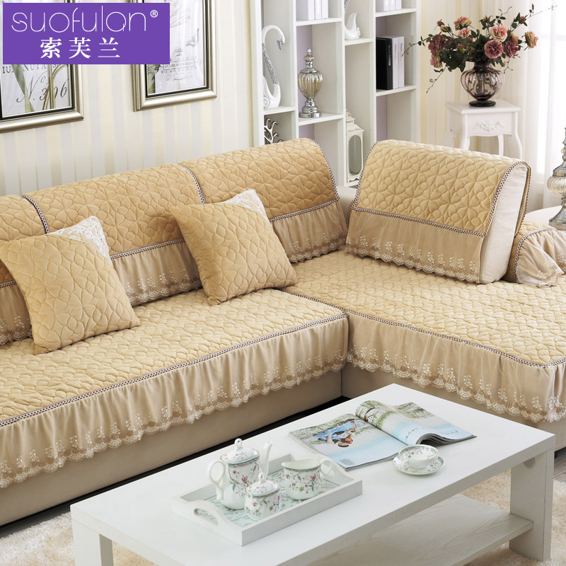 Continental slip leather sofa cushion fabric sofa cushion four seasons lace plush wood sofa sets of towels cover custom full cover