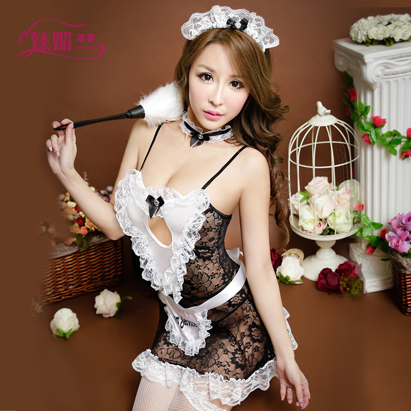 Cook maid dress sexy chest a transparent lace nightgown female sexy uniforms temptation underwear 6652