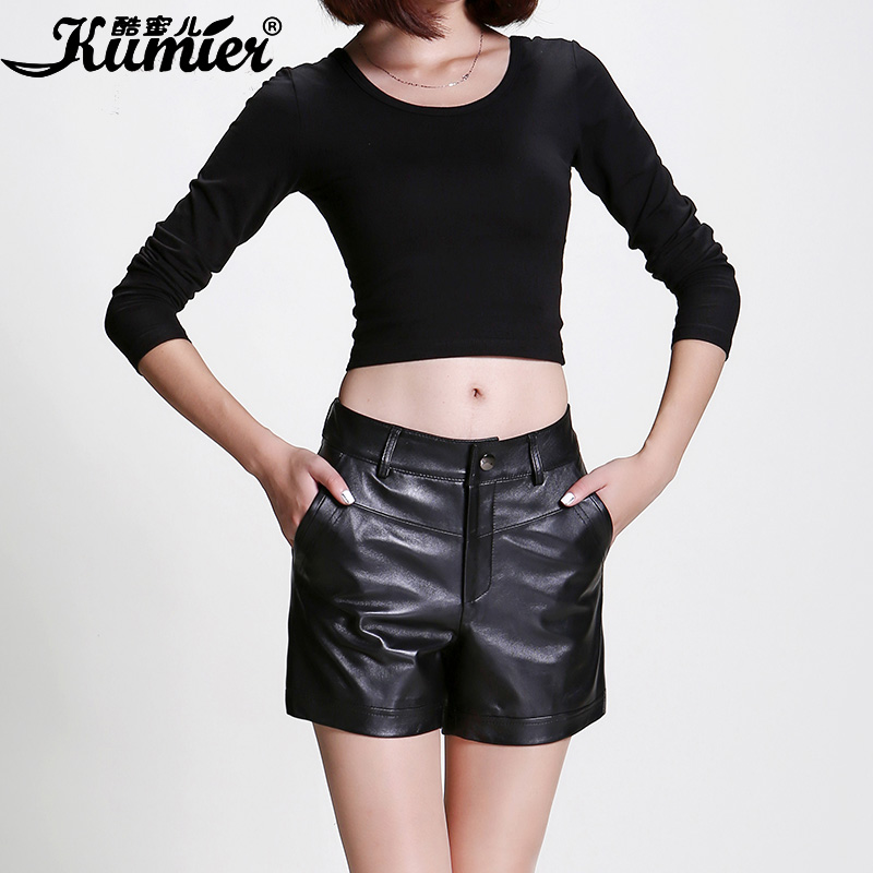 Cool claudel 2015 female sheep skin leather shorts shorts orem wind leather high leather leather pants wide pants