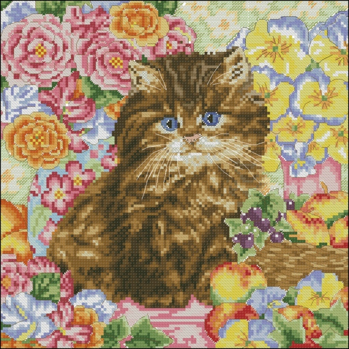 Cool new living room DW-568 spiramine monopoly dmc cross stitch kit animal cat with flowers