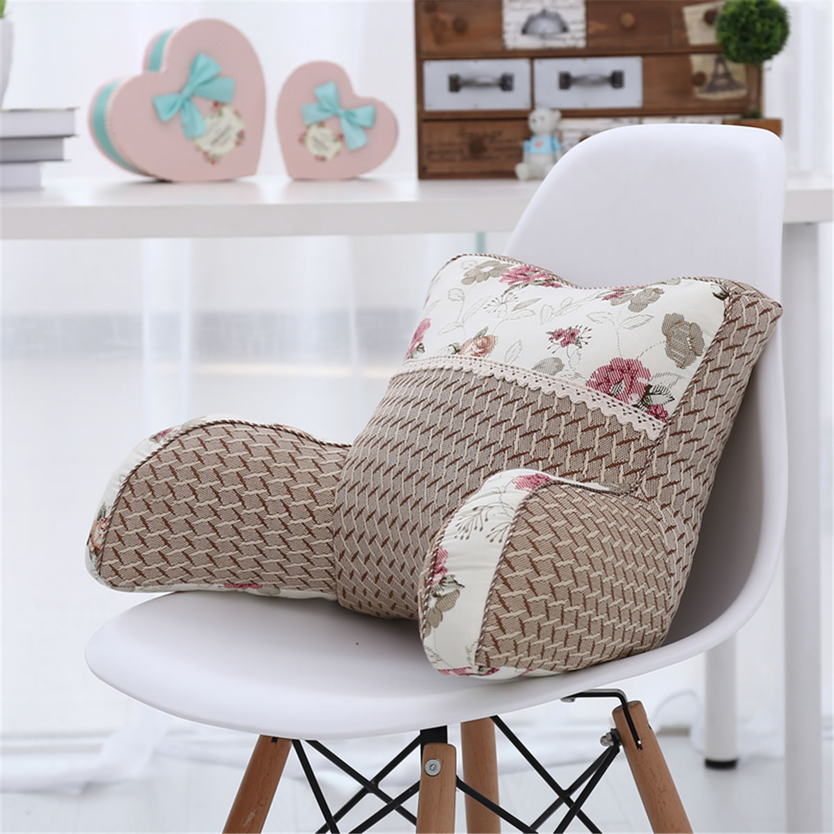 Cool summer ice silk linen car waist cushion office chair lumbar pillow bed by lumbar pad
