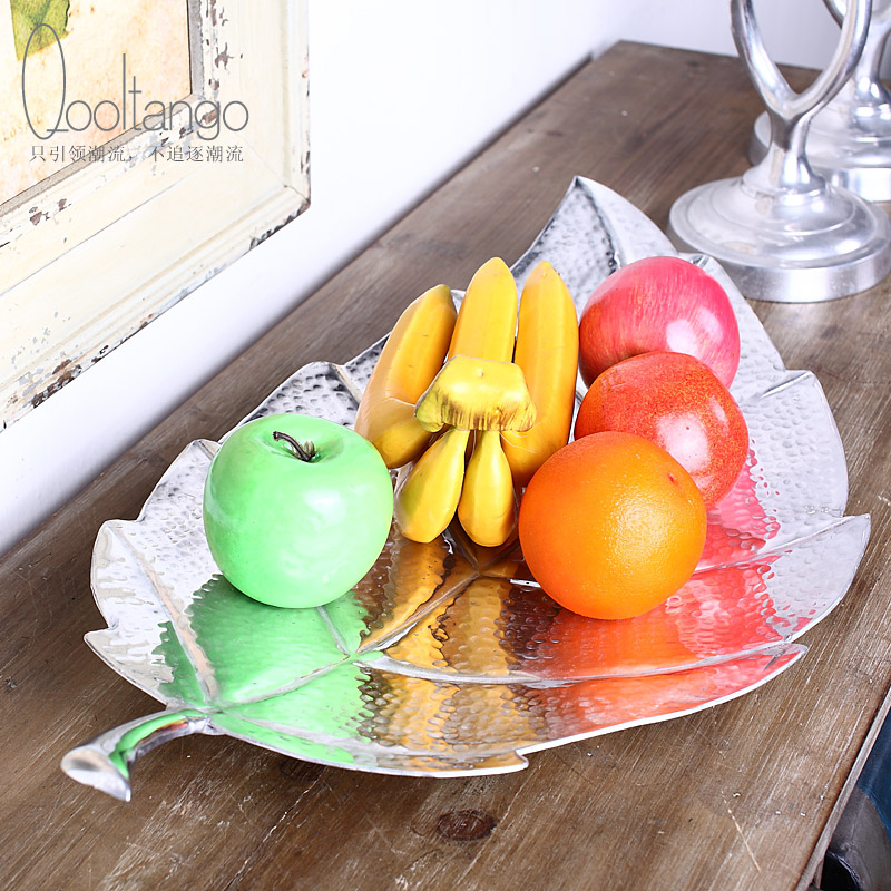 Cool tange modern minimalist furnishings continental alloy leaf type candy dish fruit plate cutlery home furnishing accessories
