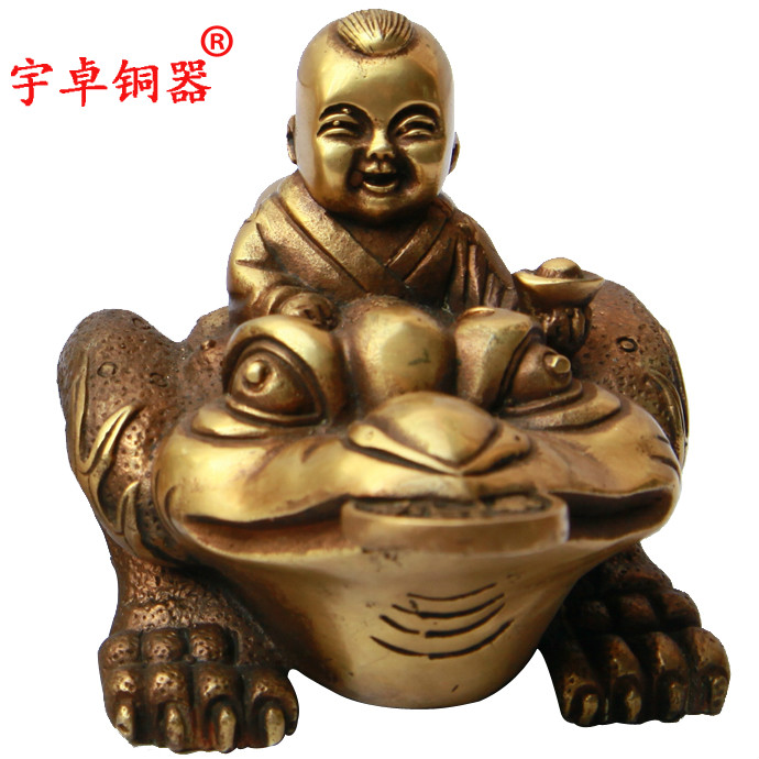 Copper bronze tripod golden toad toad tongzai yu zhuo containing money lucky hannaford gift ornaments high 9 cm