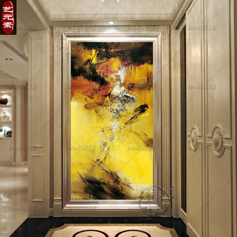 Copy zao abstract decorative painting vertical version of chinese modern villa living room entrance framed paintings YZJ025