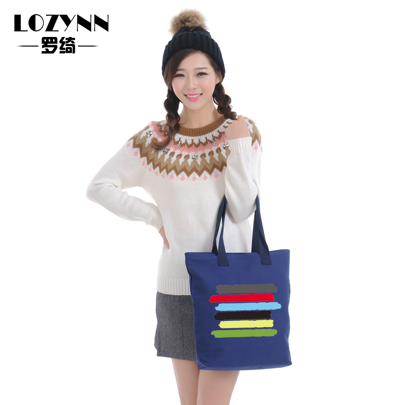 Cotton canvas minimalist small fresh retro art fan sen female big shopping bags portable shoulder bag big bag women