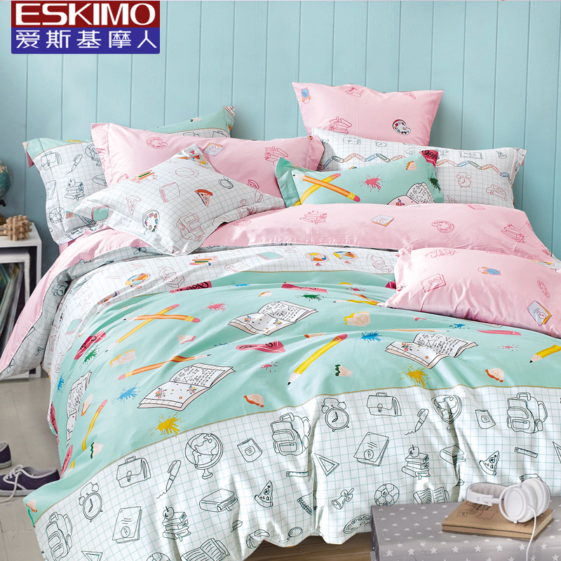 Cotton cartoon student m bed cotton quilt single bed children's bedding three family of four princess wind