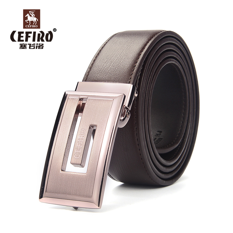 Counter synchronization new cefiro genuine leather belt men's formal wear casual smooth buckle belt young male models