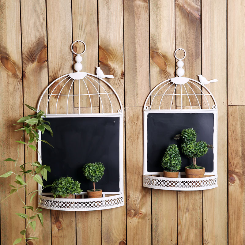 Country style retro nostalgia fan · makeup birdcage blackboard message board creative home decorative wall hangings
