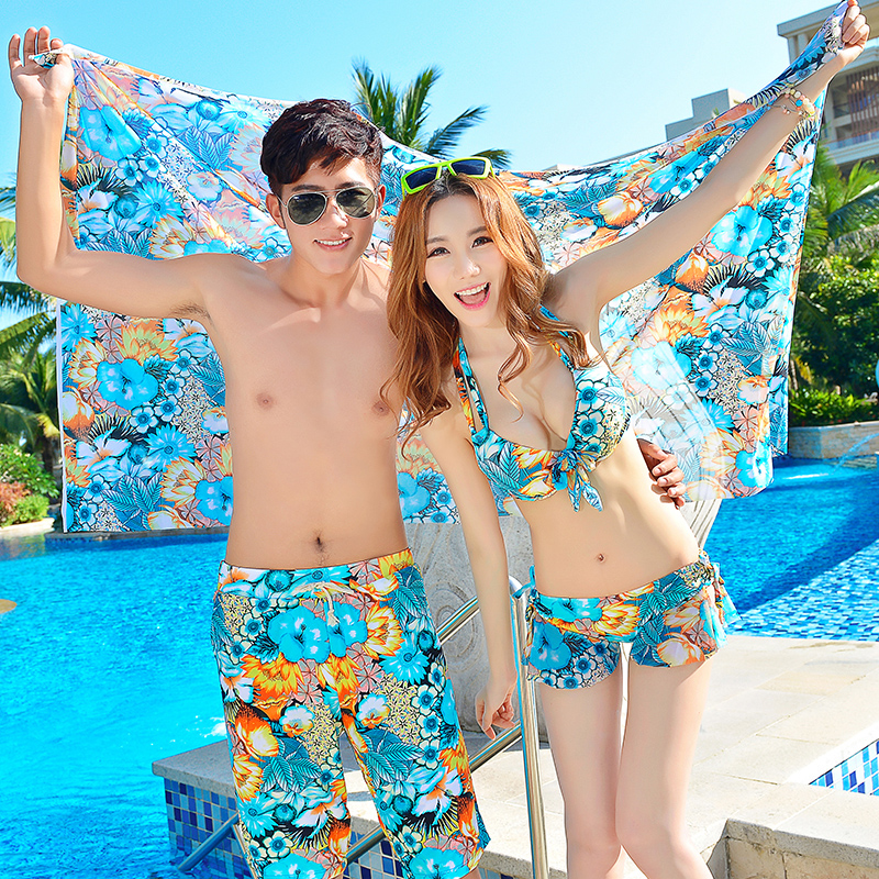 Couple female swimsuit 2016 new south korean three piece bikini swimsuit female swimsuit beach lovers suit