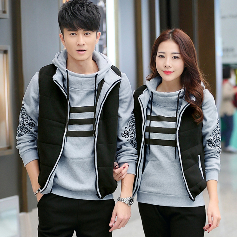Couple models thick warm three sets of three sets of winter women's fashion suit male models plus velvet track suit