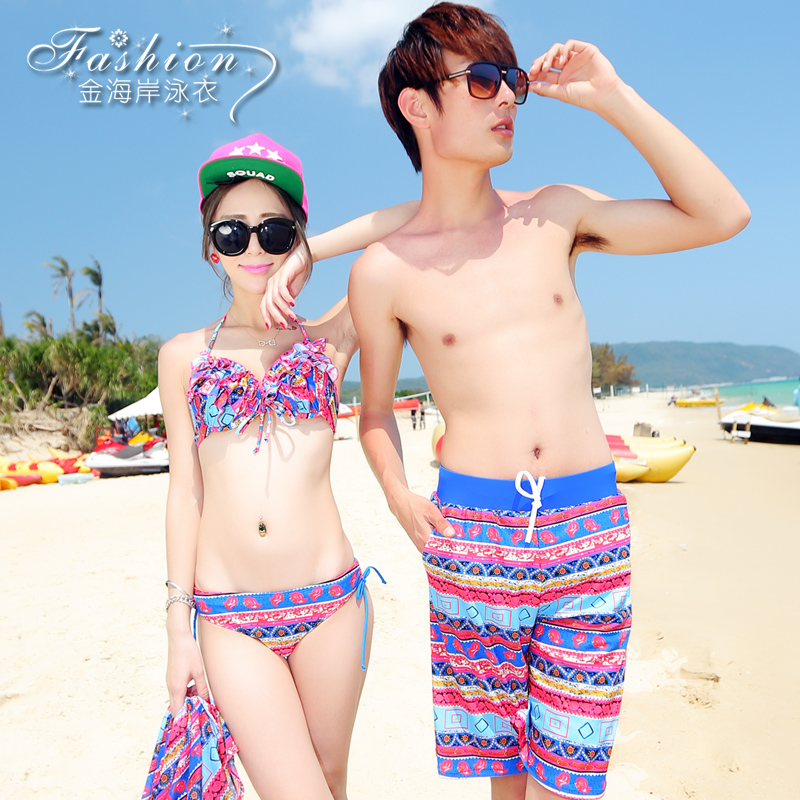 Couple swimsuit swimwear female steel prop gather small chest bikini three sets of male beach swimming trunks spa bikin i