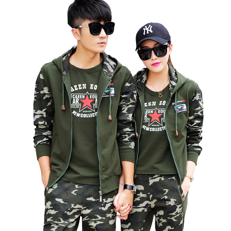 Couples color camouflage military clothes suit early autumn new fashion casual sports men and women three sets of outdoor leisure suit