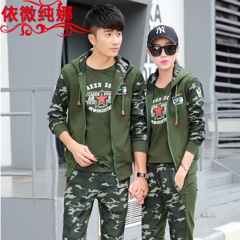 Couples suite 2016 hitz loose long sleeve casual fashion sportswear sports suit female three sets of camouflage