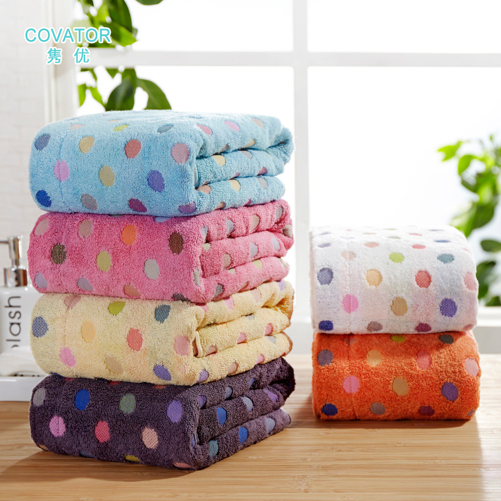 Covator polka dot cotton towels soft and absorbent towels to increase adult men and women plus thick bath towel for children