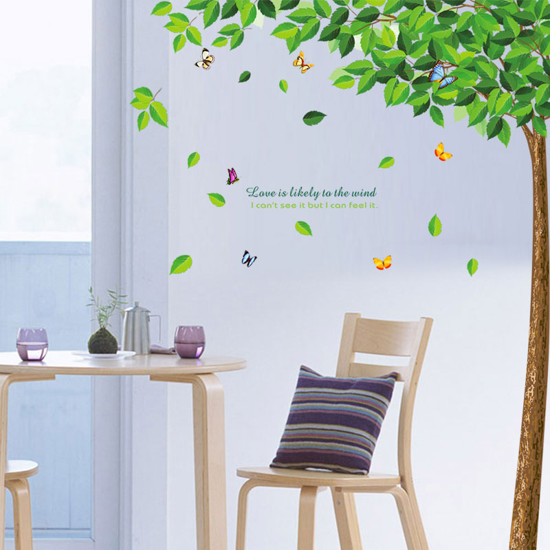 Cozy bedroom bedside background wall decoration sticker wall stickers living room fresh green leafy tree decoration wall stickers