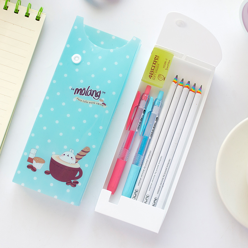 Cracking pakistani bear japan and south korea stationery cute cartoon child student pencil box large capacity pvc stationery drawer box