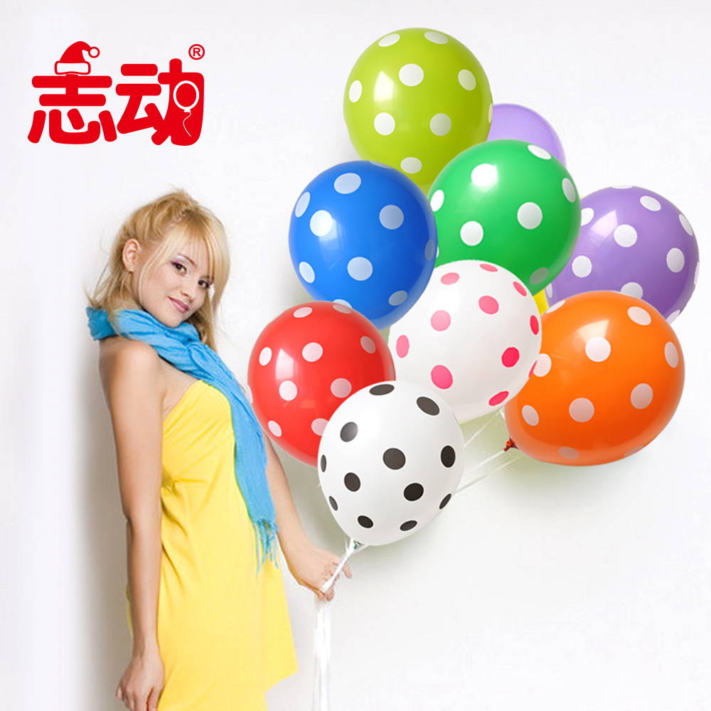 Creative balloon 12 3.2g 12-inch thick printing dots polka dot balloons birthday balloons decorated wedding 10 loaded